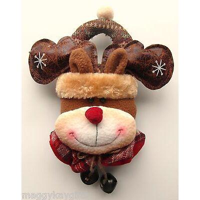 Perchas Tela Mango Puerta Santa O Rudolph- 30cm Longitud - Decoración Navidad