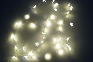 Lichterkette-40-LED-Micro-Sternenkette-Warmweiss-Batterie-biegsam-Wasserfest