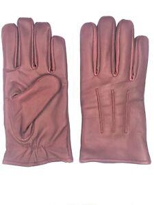 Men's Cognac GENUINE SHEEPSKIN soft leather winter gloves w/ fleece lining