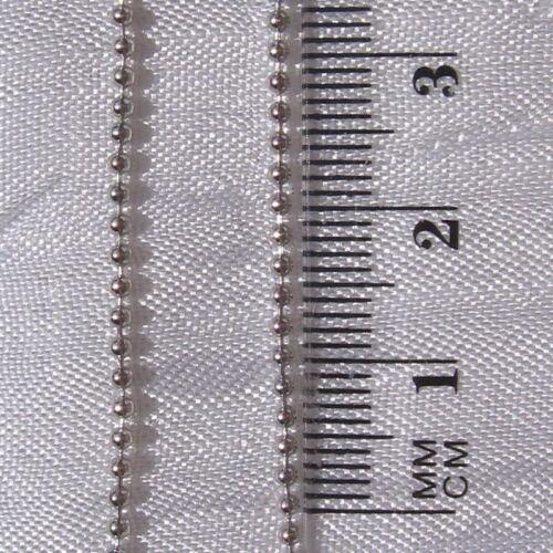 CHAINE bille boule 1,5mm EMBOUTS CONNECTEURS argenté gris-métal sans nickel