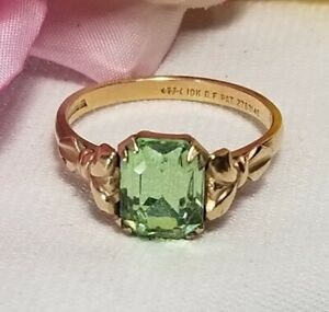 Antique Uncas Art Deco 10k Gold Filled Green Emerald Paste Solitare Ring  Size 6 Antique Solitare Paste Ring Green Stone Ring