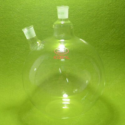 plat bottom Flask,5000ml(5L) ,two neck,24/29 joint,very heavy wall,lab flask