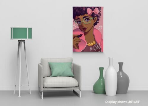 Beautiful African Girl Happy Birthday Pink CANVAS PRINT CANVAS PRINT Wall Art