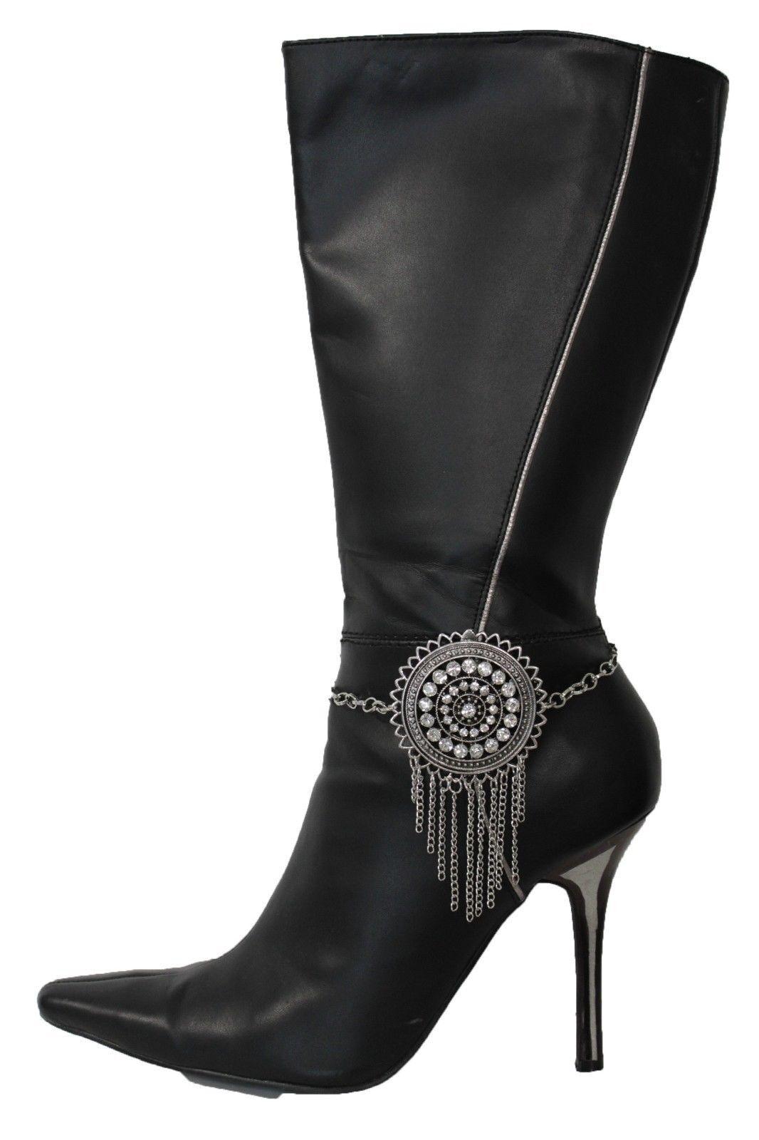 Women Silver Long Metal Chain Boot Bracelet Shoe Anklet Bling Round Flower Charm