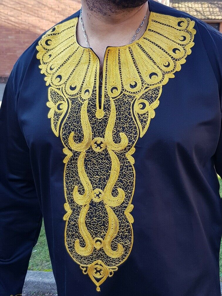 African Men Black and gold Embroidery shirt, African Wedding, Traditional event