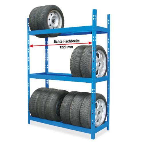 HxBxT 1950x1300x500 mm Reifenregal mit 3 Regalebenen für Reifen bis Ø 680 mm