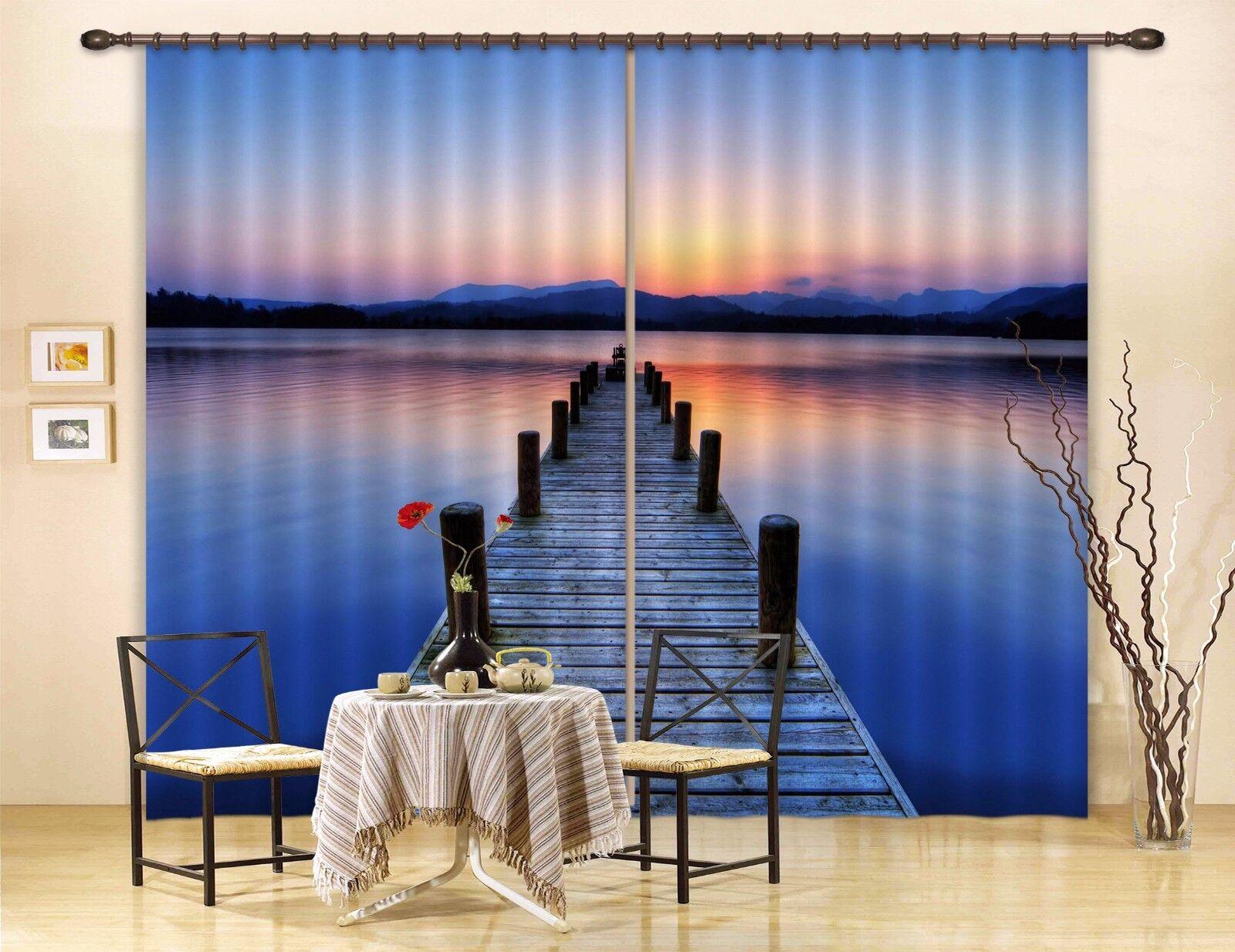 3D puente Sky 9 Cortinas de impresión de cortina de foto Blockout Tela Cortinas Ventana Reino Unido