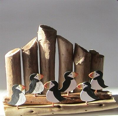 Small Quirky Puffins Sitting on Driftwood Groynes Ornament / Coastal Decoration