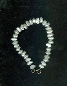 Vintage-14k-Yellow-Gold-White-Freshwater-Pearl-034-Rice-Pearl-034-Bracelet-6-1-2-034