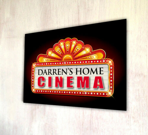 Personalised Home Cinema lights metal A4 sign plaque gift Movie room