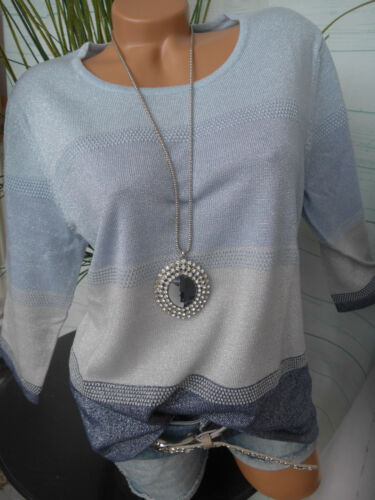 Helena vera Maglione Pullover Tg 389 46 a 52 BLU tonalità di grigio