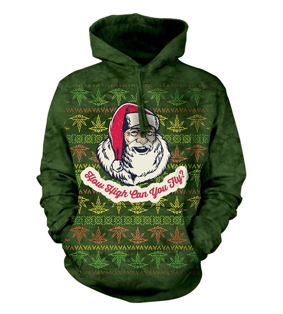 The Mountain Adult Fly High Santa Christmas Humour Hoodie