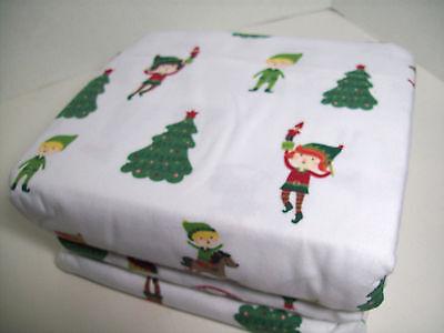 Cuddl Duds Heavyweight Holiday Christmas Tree Elves Elf Flannel Queen Sheet Set