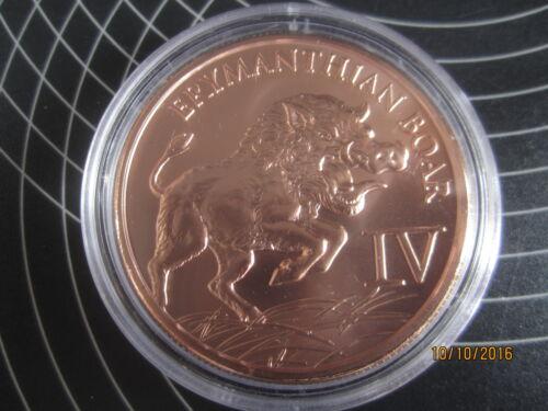 """Hercules/""""Erymanthian Boar/""""1 oz Copper Coin 4th coin The 12 labors series"""