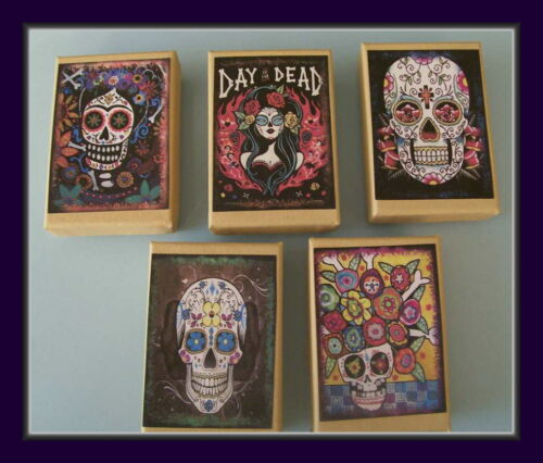 """FIVE DIFFERENT DESIGNS SET OF FIVE /""""DAY OF THE DEAD/"""" GIFT BOXES"""