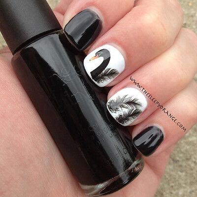 Nagel Tatoo Aufkleber Nail Art Water Decals Transfer Sticker Swan Feder