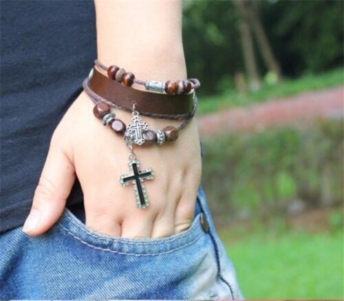 Damen Herren Leder Armband Braun mit 2 Kreuz 4 reihig Flechtarmband 2028
