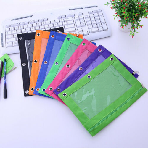 Zippered Binder Pencil Pouch with Rivet Enforced Hole School 3 Ring Pencil Case