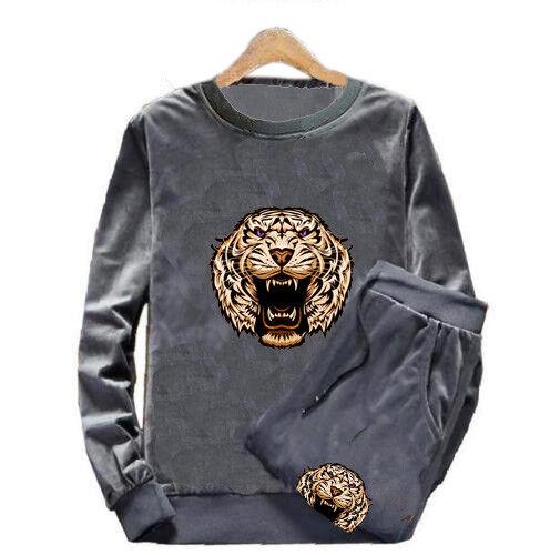 Men TrackSuit Sport Bottom Jacket Top Sweater Suit Trousers Velours Tiger Floral