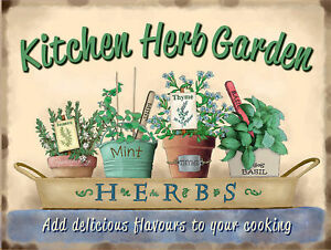 Image Is Loading Kitchen Herb Garden Plaque Vintage Metal Tin Signs