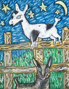 NIGERIAN-DWARF-Mischief-and-Mayhem-Goat-Collectible-8x10-Art-Print-Signed-KSAMS