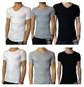 MENS-CREW-VEE-V-NECK-T-SHIRT-S-M-L-XL-SLIM-FIT-CASUAL-BASIC-SHORT-SLEEVE-GYM