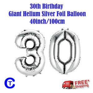 Silver-Foil-Helium-number-balloon-30th-Birthday-Party-40-inch-100cm