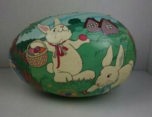 "VINTAGE  Paper Mache Easter Egg Candy Container EXTRA LARGE  11 1/2"" LONG"