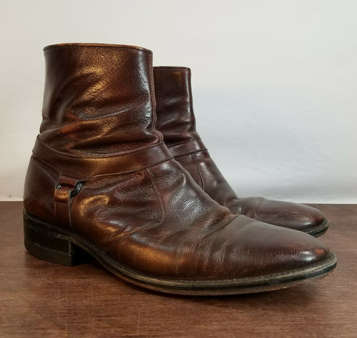 Excellent Uomo 9 D DISTRESSED Brown Pelle Ankle Stivali - Great Shape!