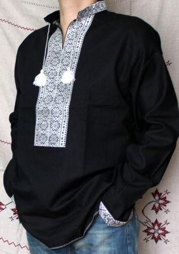 de lino él negro para hombres Hippie bordado Vyshyvanka Regalo camisa L 50 w8AI0qq5