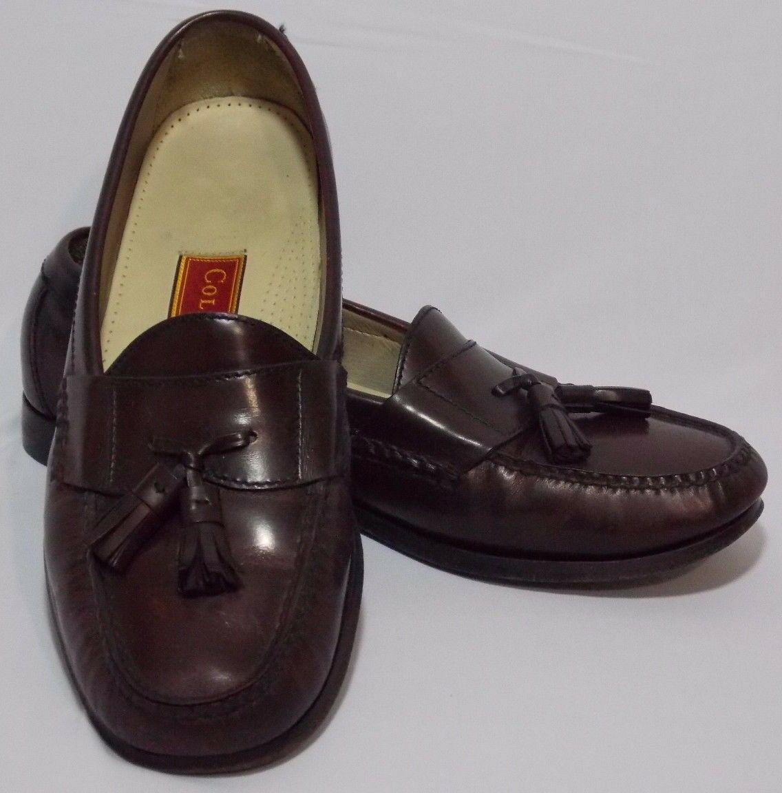 Cole Haan City Slide on Loafers Pinched Tassels Burgundy Pelle Size 9.5 D