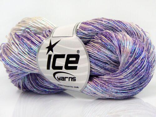 Lot of 3 x 100gr Skeins Ice Yarns SPRAY PAINT 40/% Cotton Yarn Lilac Shades