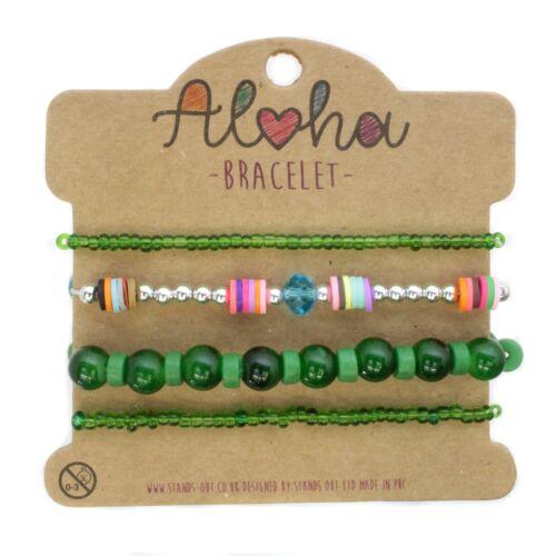 Aloha Brazalete de Moda para Mujer Pulsera Joyería Bracelet Cuero granos Festival