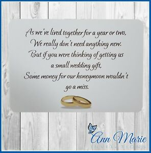 Image Is Loading 10 Personalised Wedding Money Poem Gift Cards