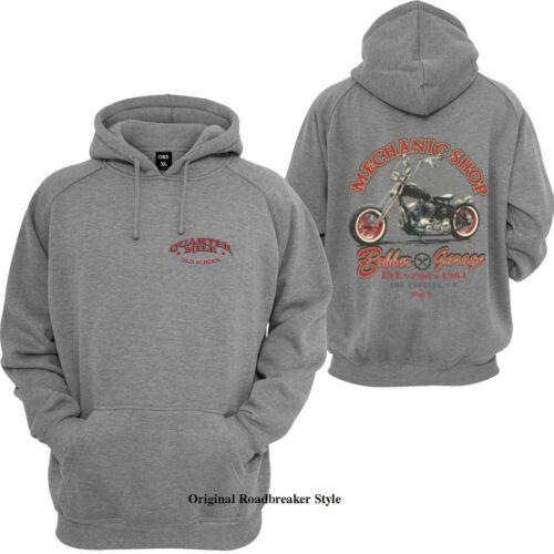 Con cappuccio Pullover//Hoody Grigio HD Biker Chopper /& Old schoolmotiv Modello Mechanic Shop