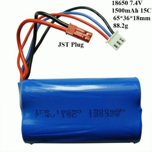 18650 1500mAh 7.4V JST Plug 15C Battery For Huanqi 948 957 RC Drone Warranty