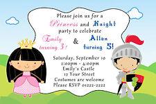 30 Princess Knight Invitation Cards Kids Birthday Party Storybook Custom A1