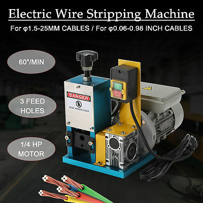 Portable Powered Electric Wire Stripping Machine Comercial 1//4HP Cable Stripper