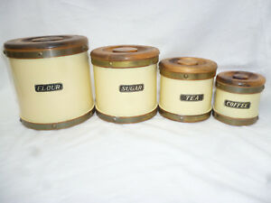 Painted Wooden Kitchen Canister Set