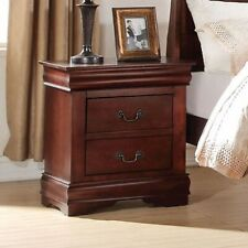 Acme Furniture Louis Philippe Nightstand With 2 Storage Drawers Cherry
