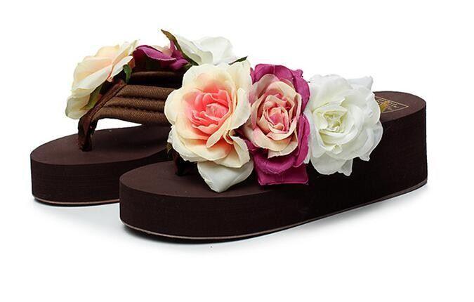 Sandales Chaussons Femme Tongs Brun Motif à Fleurs Compensé 5.5 cm Mer