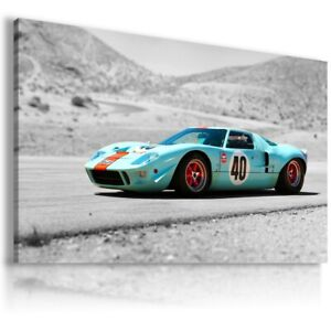 FORD GT 40 BLUE Cars Large Wall Art Canvas Picture AU330 MATAGA UNFRAMED-ROLLED