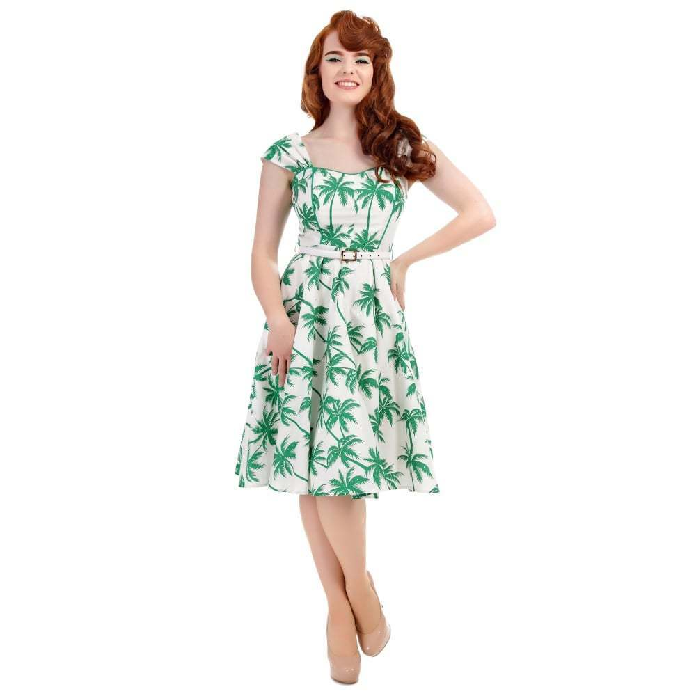 Collectif Vintage White Green Sandra Palm Print Swing Dress  Sz 8 - 22 1950s