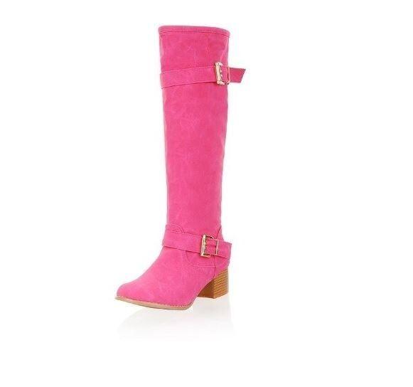 Stivali invernali comodi donna tacco 5 cm  simil pelle verde rosa blu  cm 8941 db8056