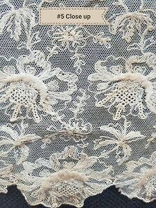 Antique-French-Lace-Cotton-Ecru-Floral-Net-Tambour-Tulle-Fragment-A25