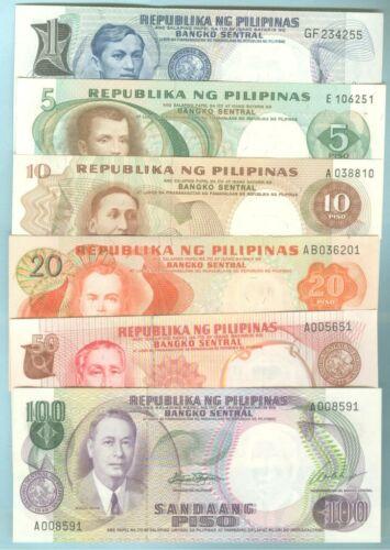 ALL CRISP UNC PHILIPPINES 1969 PILIPINO SERIES 1-5-10-20-50 /&100 PESO NOTES