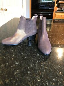 Anthropologie-Chocolate-Brown-Leather-Shimmer-Booties-Size-9-New