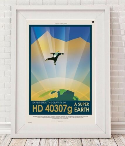 NASA Exoplanet Travel Bureau HD 40307G Space Travel Poster vintage many size