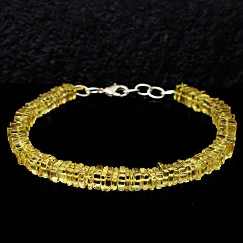 "Details about  /Royal 73 Cts Earth Mined 7/"" Long Lemon Quartz Heishi Beaded Bracelet JK-22E277"