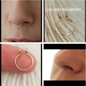 1pc Fake Septum Gold Silver Clicker Clip Surgical Steel Nose Ring